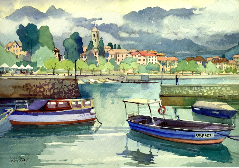 Lake Maggiore Italy. Baveno Clouds and Mountains. image 0