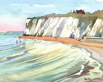 Dumpton Gap, Broadstairs. High Tide. Sea, Beach and Chalk Cliffs