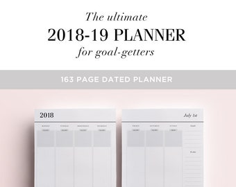 2018-2019 Planner Printable, Academic Planner Printable Planner Inserts A5, Mid Year Diary, Yearly Planner Pages, A4 A5 US Letter