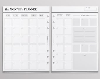 PRINTED MO2P Productivity Edition | Monthly Planner Inserts | Month On Two Pages | Printed Inserts | Kikki K Large, Filofax A5, LV Agenda GM