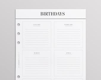 PRINTED Kikki K Inserts | At A Glance A5 Filofax Inserts, Anniversary Birthday Pages, LV Agenda GM Inserts, Birthday Calendar Planner Refill