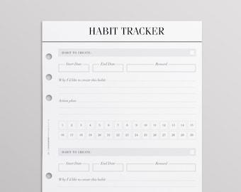 PRINTED Habit Tracker A5 Planner Inserts | Goal Planner | Habit Planner | Louis Vuitton Agenda GM Inserts | Filofax A5 Planner | Kikki K