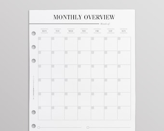 PRINTED Monthly Overview With List | A5 Monthly Planner Inserts | A5 Monthly Calendar | Monthly Goals | Monthly To Do List | Minimal Planner