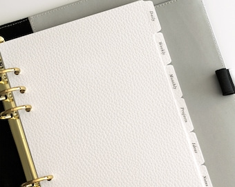 Customisable Planner Dividers 6-Tab Leather Card   A5 or Personal Size   25+ Tab Labels To Choose From   Minimal Planner Tabs