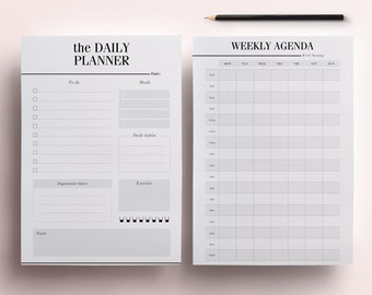 ULTIMATE Daily Planner Bundle, Printable Planner Inserts Kit: 20 Minimal Planner Essentials, Daily Planner, Weekly Agenda, To Do List, A5