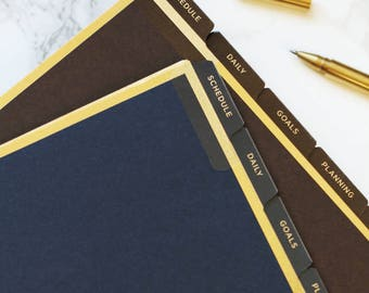 Luxe A5 Planner Dividers, Filofax Dividers, Blue Dividers, Gold Foil Dividers, Laminated Tabs, LV Agenda GM Inserts, Kikki K Dividers, Brown