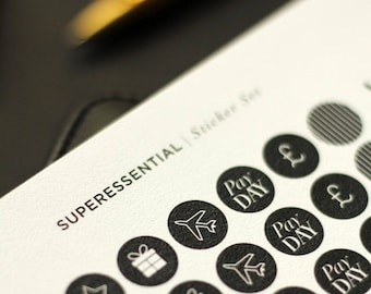 SuperEssential Minimal Planner Stickers - Black and White Icon Stickers - Mini Sticker Kit - Chic Birthday Finance Travel Black Stickers