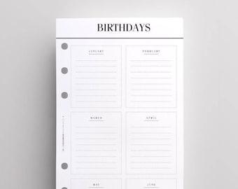 PRINTED Kikki K Medium Inserts | Printed Filofax Personal Inserts, Birthday & Anniversary Tracker Planner Pages, Printed LV Agenda MM Refill