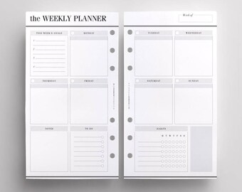PRINTED WO2P Productivity Edition | Personal Size Weekly Planner Inserts | Week On Two Pages | LV MM Printed Inserts | Kikki K Medium Refill