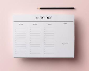 To Do List Planner Printable - A4 Work Planner, Minimalist Desk Planner - Digital File, Daily List Organizer, INSTANT DOWNLOAD