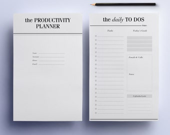 ULTIMATE Productivity Half Size 8.5 x 5.5 Planner Pages, To Do List Printable Planner Pack: Day Planner, Project Planner, Instant Download
