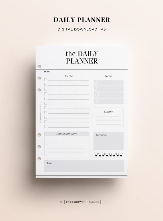 printable a5 daily planner insert printable printable day on etsy