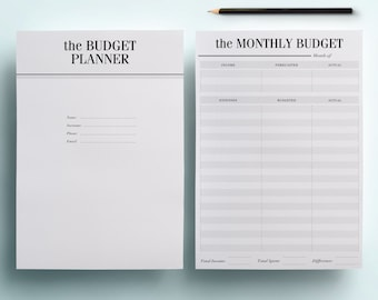 A4 Budget Planner Kit - Printable Financial Planning Set, 7 Modern Organizer Pages including Savings Tracker, Expenses etc, INSTANT DOWNLOAD