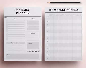 Daily Planner Pages US Letter Size 8.5 x 11 inches  - Printable Planner Pack, 13 Planner Inserts: Meal Planner, To Do List, INSTANT DOWNLOAD