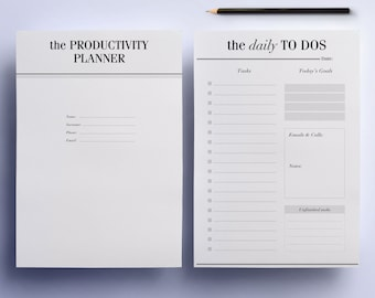 ULTIMATE Productivity, To Do List Work Printable Planner Pack, 21 A4 & A5 Organizer Pages: Day Planner, Project Planner Instant Download
