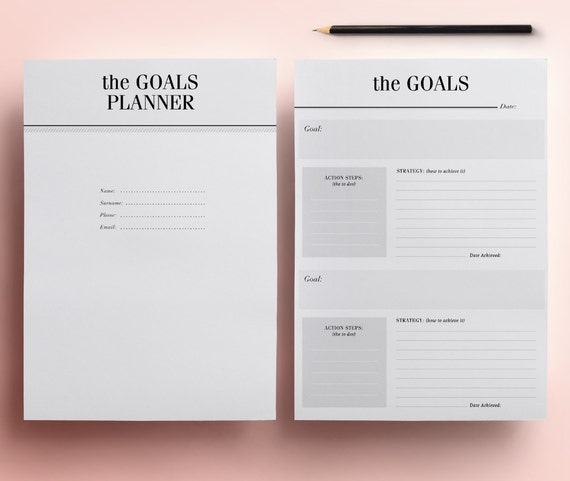 goals planner pack printable 11 a4 a5 organizer pages new etsy