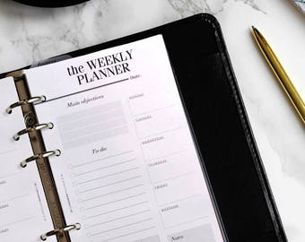 PRINTED Personal Size Weekly Planner Inserts | Week On One Page | Personal Filofax Planner Refill | Printed Kate Spade Planner Inserts