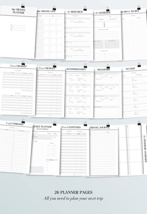 photograph relating to Vacation Planner Printable known as Push Planner Printable x 29 Web pages Getaway Planner, Family vacation planner, Packing Record, Generate Itinerary, A5 Planner Inserts, A4, US Letter