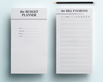 Personal Planner Budget Inserts - Printable Financial Planner Inserts, Personal Filofax, 8 Organiser Pages: Savings Tracker, Expenses, Debt
