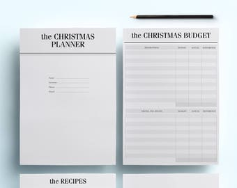 A5 Christmas Planner Printable Pack, 18 Modern Holiday Organizer Pages, Holiday Planner including Christmas Budget & Lists, INSTANT DOWNLOAD