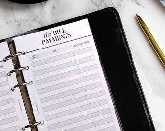 PRINTED Personal Planner Inserts | Bill Pay Filofax Personal Inserts | Budget Planner Kikki K Medium Inserts | Financial Planner LV MM