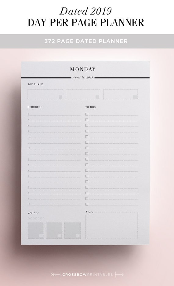 2019 daily planner printable day on one page 2019 planner etsy