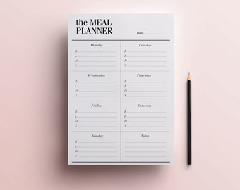 Weekly Meal Planner Printable A5 / A4 / Half Size (8.5 x 5.5), DIY Menu Planning Organizer, Household Diet Printables