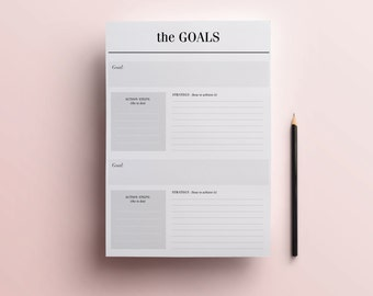 Goals Planner Printable - Minimal A4 / A5 / Half-Size Planner Page, New Years Resolution Planner, Instant Digital Download