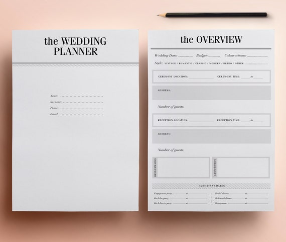 ultimate printable wedding planner organizer half size etsy