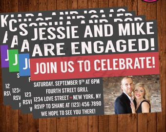 Modern Engagement Party Invite With Photo!  (Printable, Blue, Green, Red, Purple)