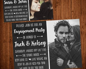 Chalkboard Engagement Party Invite With Photo!  (Printable)