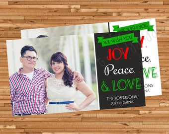 Joy, Peace, & Love Printable Christmas Card (Available in Black or White!)