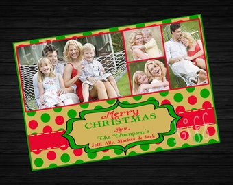 Polka Dot Printable Christmas Card