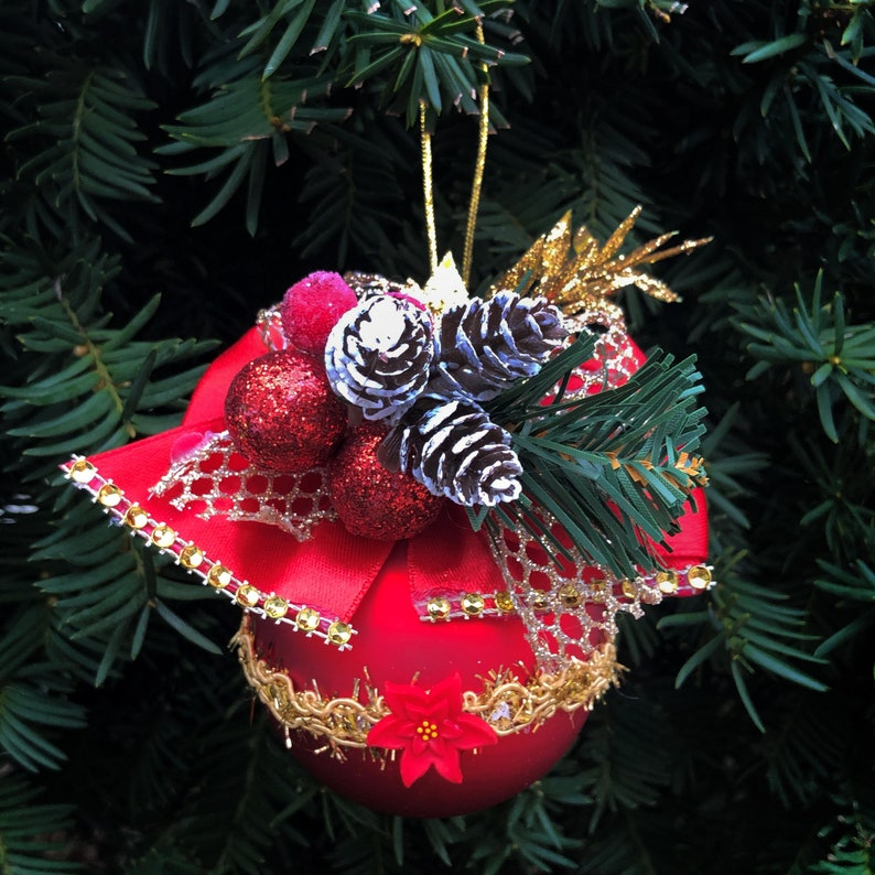 Handmade Red Christmas Tree Ornament W Red Green Gold Flowers And Cones Balls