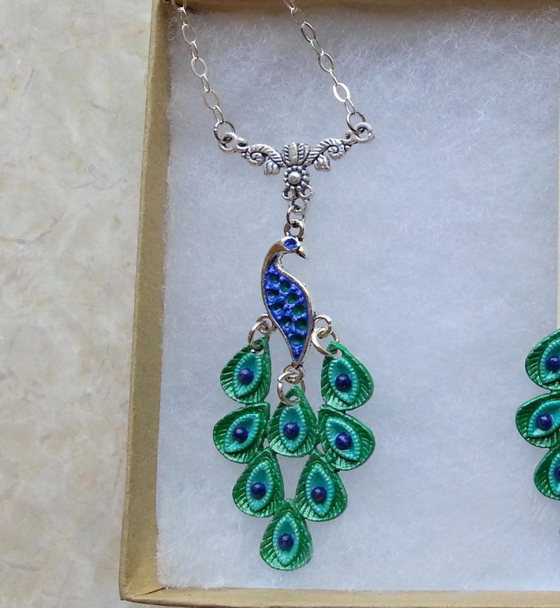 f8b0bb4e14f6d Peacock Jewelry - Blue Green Peacock Pendant - Peacock Necklace w/ Lapis  Lazuli, Hand Painted Peacock Necklace w/ Rhodium Plated Chain