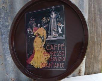Caffe Espresso Servizio Istantaneo Metal Tray ~ Nevco Vintage Tin Tray 1573-bf ~ Espresso Tin Tray(KNevils)