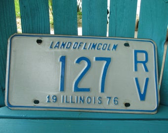 1976 Illinois RV License Plate 127 ~ Vintage RV License Plate