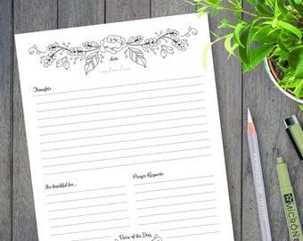 Prayer Journal Printable Daily Devotional Template Bullet Color Yourself Calendar Flower Illustration