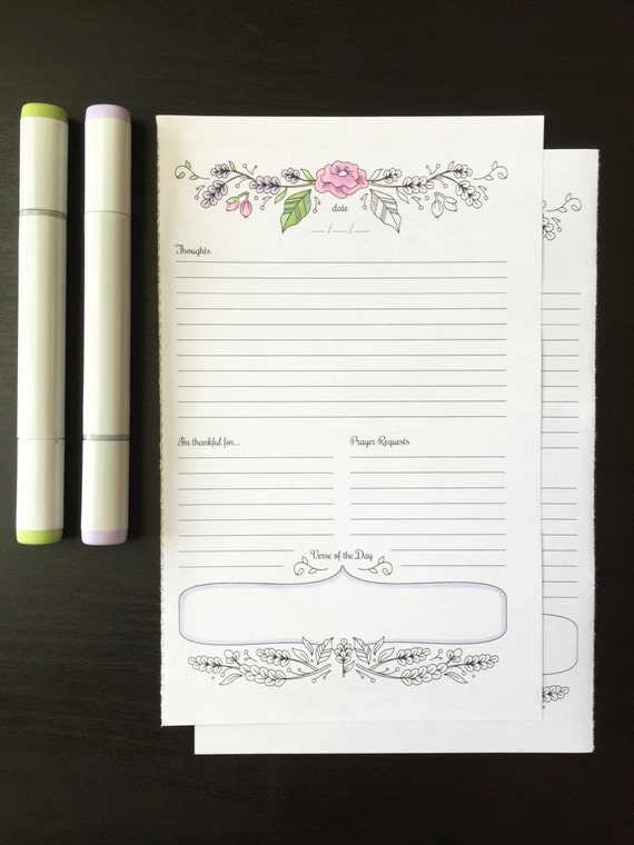 Prayer Journal Printable Daily Devotional Template Bullet