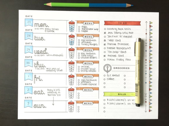 8 5x11 Printable Planner Page Weekly Calendar Template Etsy