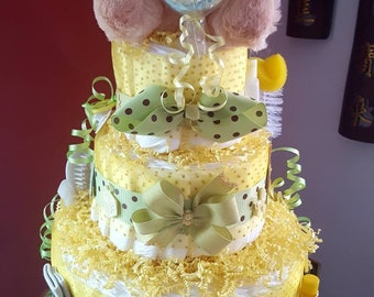 Baby Yellow/Green Boy Or Girl 3 Tier Diaper Cake - Made To Order