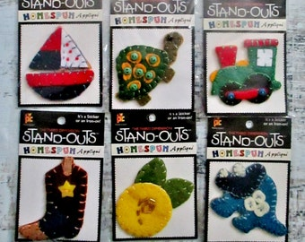 Stand-outs, Homespun Applique, Sticker, Iron On, 3D Fabric Shapes, Destash Bundle, Lot of 9, Sewing Supply, Patches, Decorate Crafts, Supply