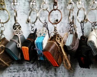 Tiny Journal Keychains, Party Favors, Pack of 12, Handmade Mini Books, Wedding Favor, Charm Book, Tiny Journal, Basket Stuffers, Mixed Lot