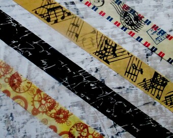 Washi Tape, Air Mail Postal, Cogs Gears, Vintage Music Notes, Black Script, Planner Supply, Paper Craft Tape, Matte Finish, Masking Tape
