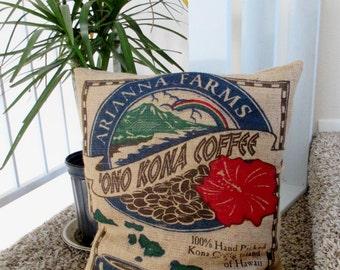 Coffee Sack Pillow, Recycled Coffee Bag, Large Burlap Pillow, Home Decor Gift, Hawaii Ono Kona, Upcycled Burlap Sack Pillow, Christmas Gift