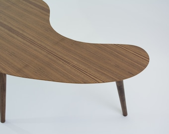 Mid-Century Modern Coffee Table - Walnut (Kidney Bean/Boomerang) - Medium Size