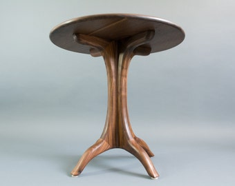Walnut Round Side / End Table  - (Round Walnut Side Table, Modern Side Table, Mid Century Side Table, End Table)