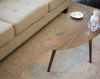 Mid-Century Modern Coffee Table - Walnut Kidney Bean, Small Version