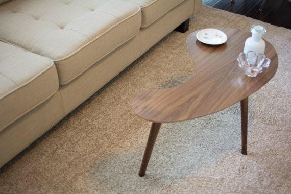 Mid Century Modern Coffee Table Walnut Kidney Bean Small Etsy