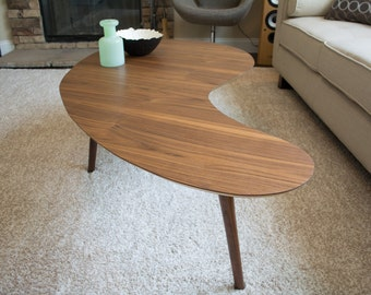 Mid-Century Modern Coffee Table - Walnut Kidney Bean - Extra Large Version